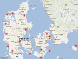 Oversigt over destinationer egent til safari i Danmark